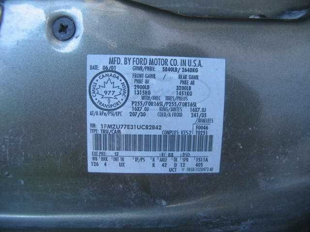 Used 2001 ford truck explorer sport trac electrical 00970 country code