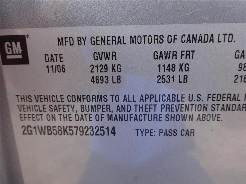2006 chevrolet impala rear-body impala quarter panel assembly 160 RH,GRAY,4DR,1106,000