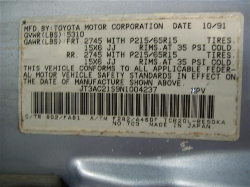 1991 toyota previa axle drive shaft  front equipment drive shaft   430 NOT SHAFT,SEE NOTES
