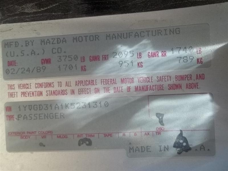 1990 mazda 626 transmission 626 transmission transaxle 400 TEST IN SHOP,MT,