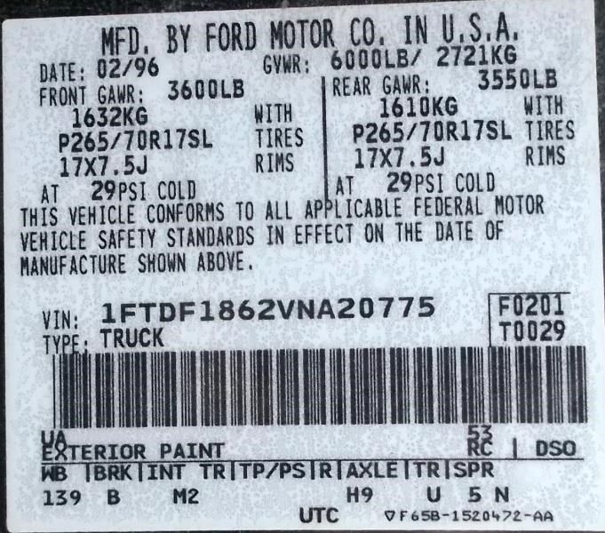1997 ford truck ford f150 pickup front body radiator core support 109 BLK